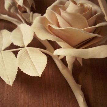 Talla de madera fina de la Rosa,detalle