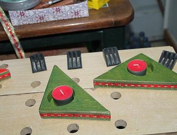 Los porta velas verdes